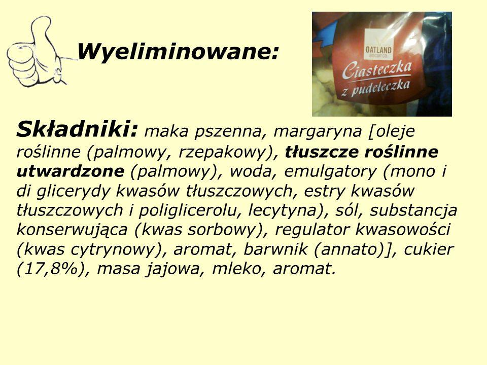 Wyeliminowane: Składniki: maka pszenna, margaryna [oleje roślinne (palmowy, rzepakowy), tłuszcze roślinne utwardzone (palmowy), woda, emulgatory (mono i di glicerydy kwasów tłuszczowych, estry kwasów tłuszczowych i poliglicerolu, lecytyna), sól, substancja konserwująca (kwas sorbowy), regulator kwasowości (kwas cytrynowy), aromat, barwnik (annato)], cukier (17,8%), masa jajowa, mleko, aromat.